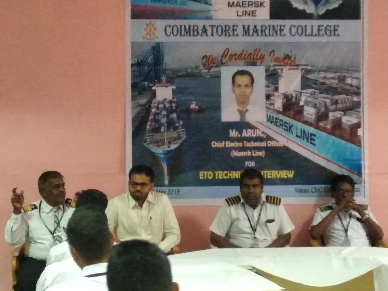 Technical Interview (MAERSK LINE) for ETO cadets at Coimbatore Marine College